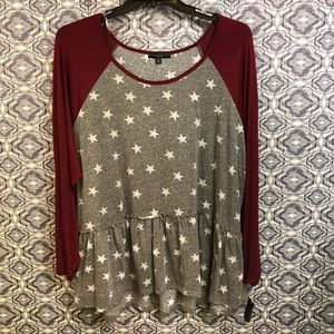 Burgundy, Grey & White Star Long Sleeve Blouse